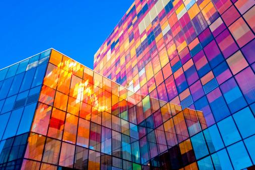 Multi-colored glass wall 157675600