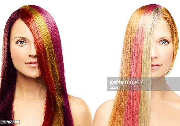 Multicolored hair.White background