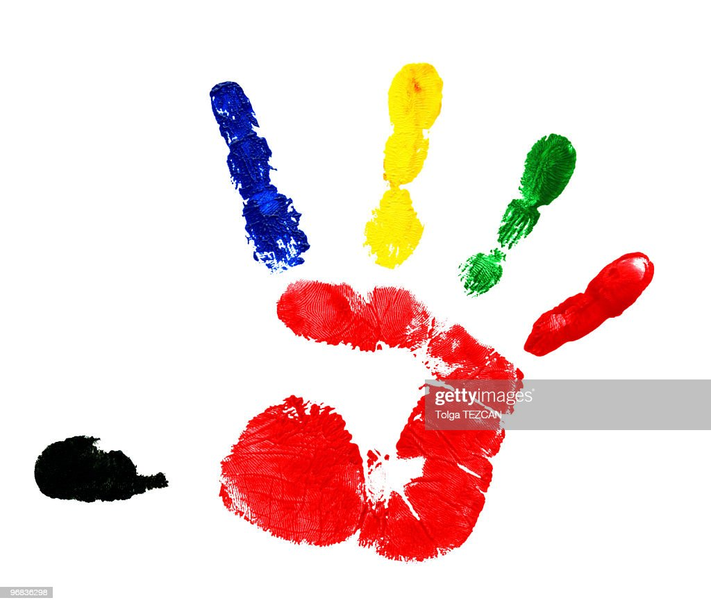 multicolored handprint with finger paint stock photo getty images