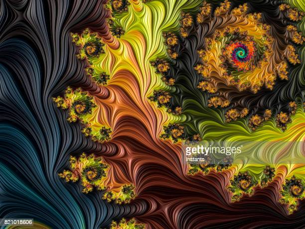 multi-colored high resolution textured fractal background that reminds of a forest, as seen from above in a 60's album cover style. - trippy stock pictures, royalty-free photos & images
