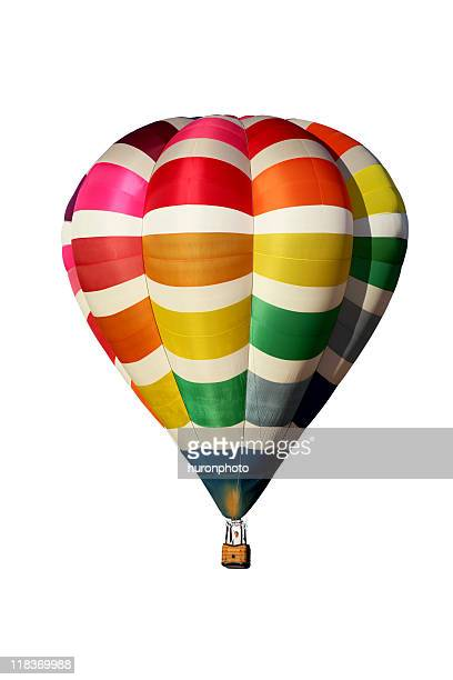 Multi-colored hot air balloon on a white background