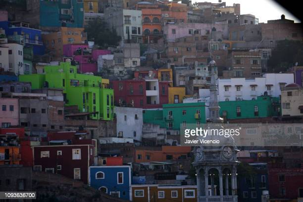 Multicolored Houses Built on a Hill in Guanajuato, Mexico