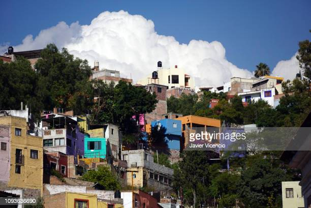 Multicolored Houses Built on the Hill in Guanajuato, Mexico