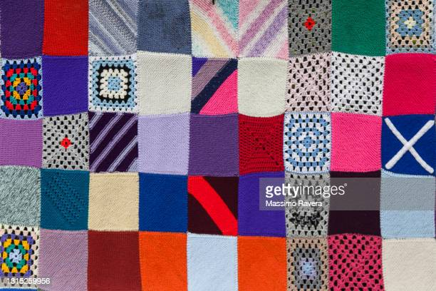 multicolored knitted patchwork - clothing stock pictures, royalty-free photos & images