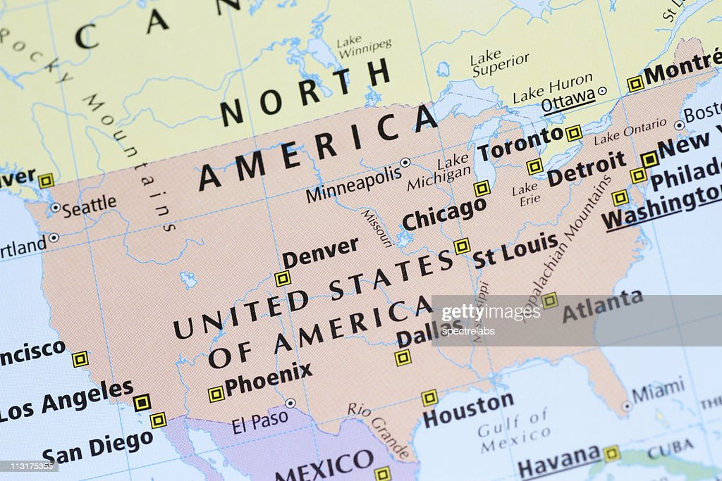 Multicolored Map Of Usa Canada Mexico With Cities Stock Photo ...