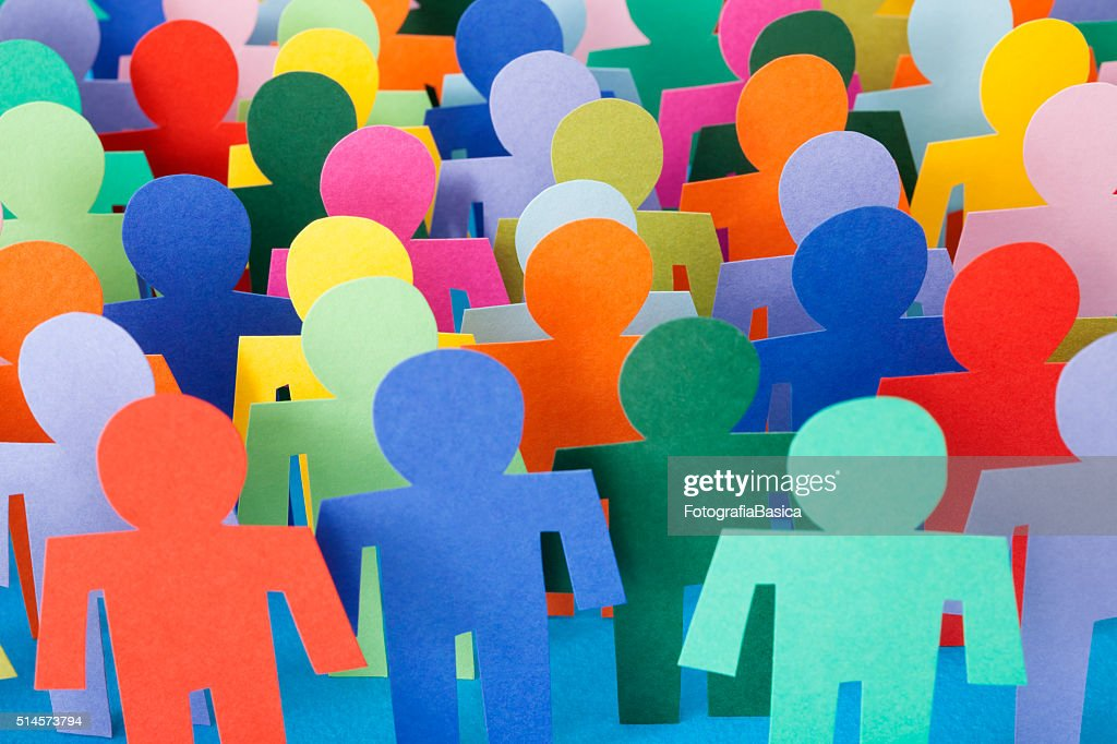 Multicolored men crowd