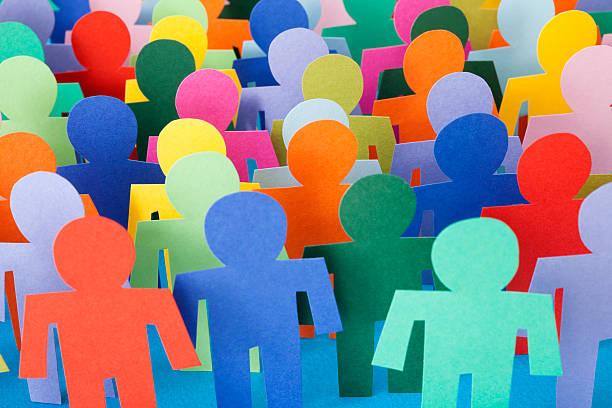 Multicolored men crowd