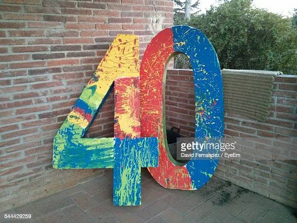 multicolored number 40 on building terrace - number 40 stock photos and pictures
