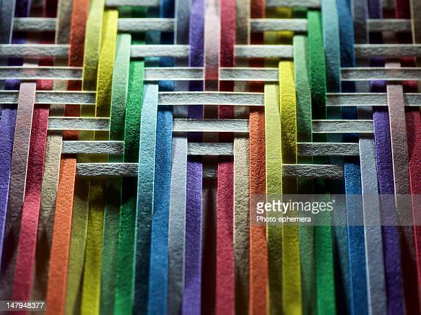 multicolored of white paper strips - woven stock photos and pictures