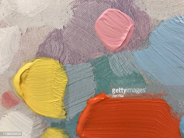 multicolored oil paint on canvas - colour block stock pictures, royalty-free photos & images