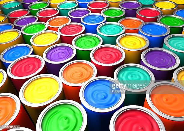 Bunte Farbe-Dosen