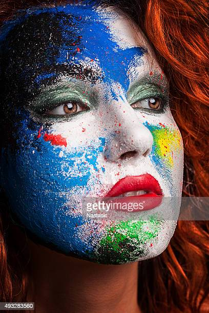Multicolored painted face