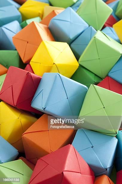 Multicolored paper cubes