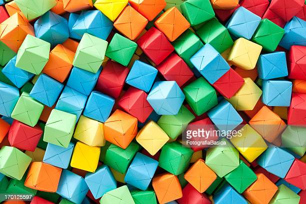 Multicolored paper cubes