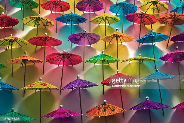 multi-colored paper umbrellas - catherine macbride stockfoto's en -beelden