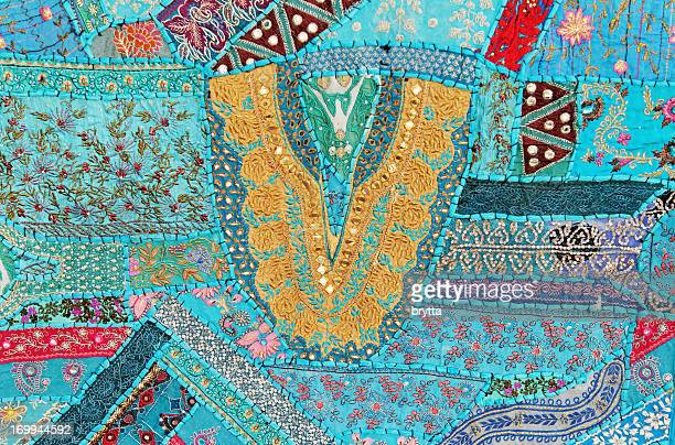 multicolored patchwork handmade in rajasthan,india - textile industry stock pictures, royalty-free photos & images