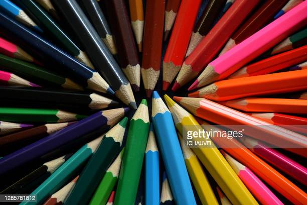 multicolored pencils france - var stock pictures, royalty-free photos & images
