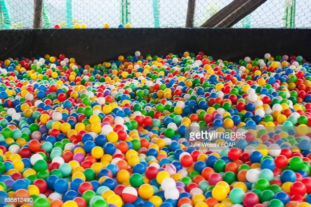 Multicolored plastic balls in amusement park