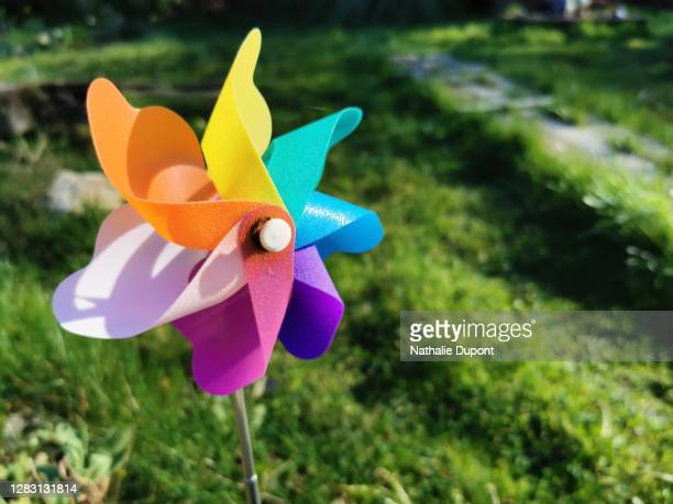 multicolored plastic windmill - charleroi stock pictures, royalty-free photos & images