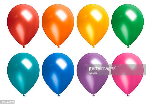 Multicolored Rainbow Inflated Latex Balloons Isolated on White