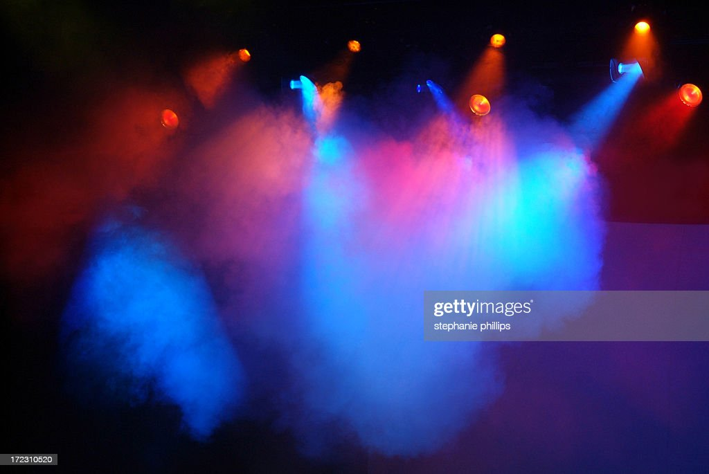 Multicolored Red, Blue And Pink Stage Lights With Fog
