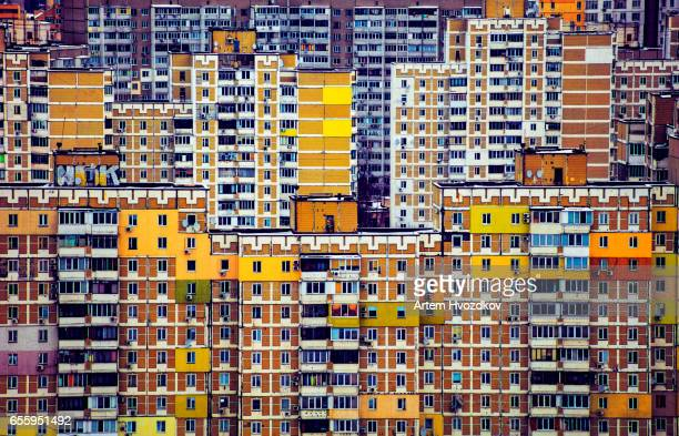 multicolored residential arrays in cloudy weather, day, outdoor - キエフ市 ストックフォトと画像