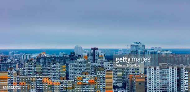 Multicolored residential arrays in cloudy weather, day, outdoor