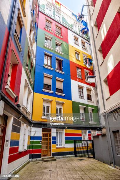 Multicolored residential building facade at Bilbao, Basque Country, Spain