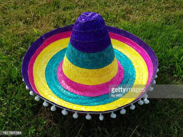 a multi-colored sombrero, close-up - mexican hat stock pictures, royalty-free photos & images