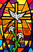 Multicolored Stained Glass Window - Cross with Dove and Lilies