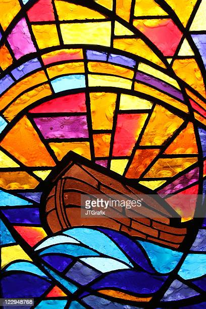 Multicolored Stained Glass Window - Noah's Ark with Rainbow