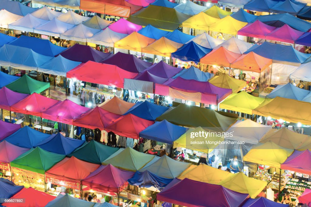 Multi-colored tents /Sales of second-hand market in Bangkok  Stock Photo & Multicolored Tents Sales Of Secondhand Market In Bangkok Stock ...