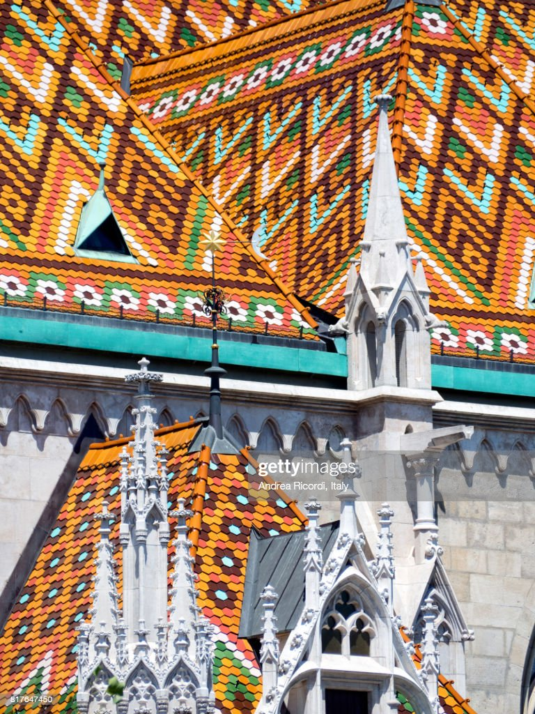 Multi-colored tiled roof of St Matthias Church, Budapest,Hungary : Stock Photo