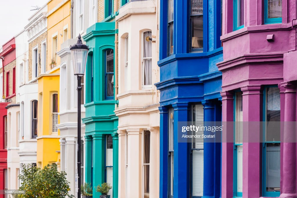 Multicolored townhouses in Notting Hill, London, England : Stock Photo