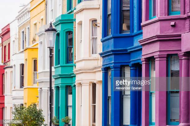 Multicolored townhouses in Notting Hill, London, England