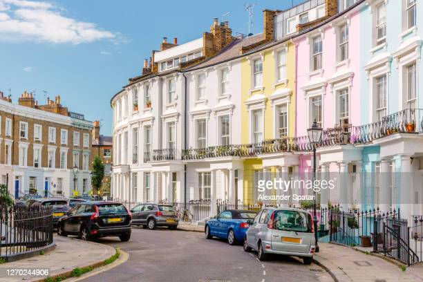 multi-colored townhouses in primrose hill, london, uk - residential district stock pictures, royalty-free photos & images
