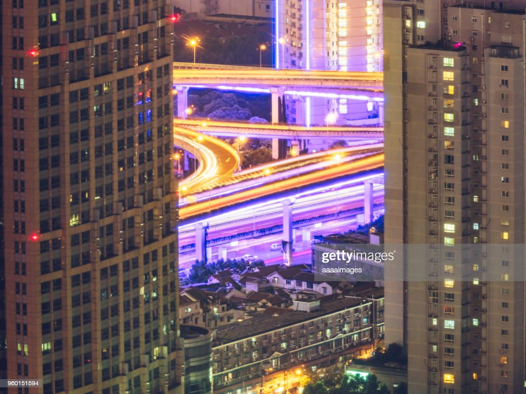multi-colored traffic trails at night in shanghai : Stock-Foto