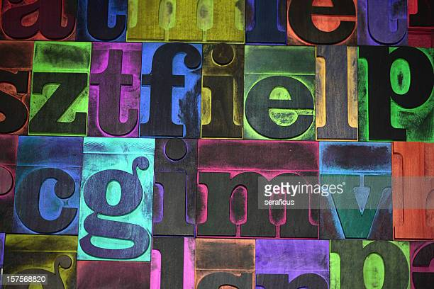 multicolored typeset - typography stock photos and pictures
