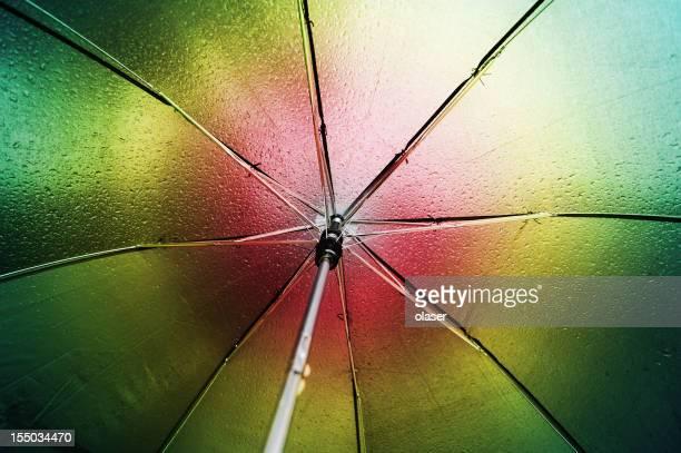 Multicolored umbrella seen from inside