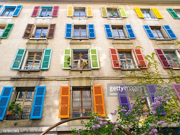 Multicolored windows on facade of a house