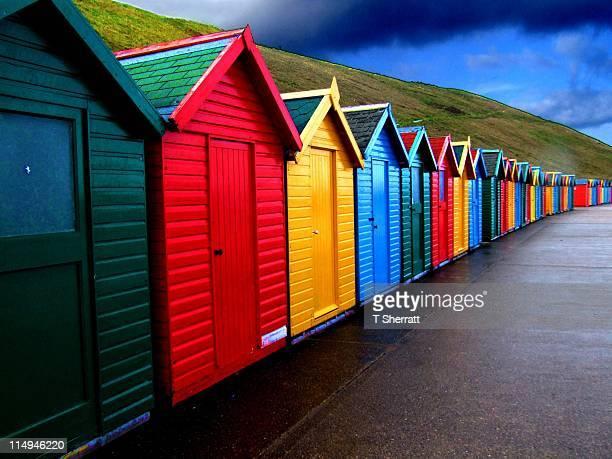 Multicolour beach huts