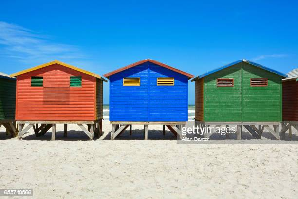 multi-coloured beach huts on mossel bay, south africa - mossel bay stock pictures, royalty-free photos & images