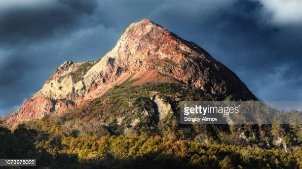 multicoloured mountain peak at hot stream valley in japan - basalt stock pictures, royalty-free photos & images