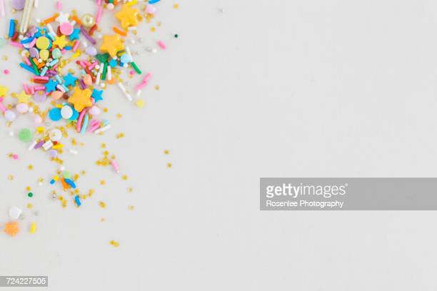Multi-coloured multi-shaped confetti sprinkles