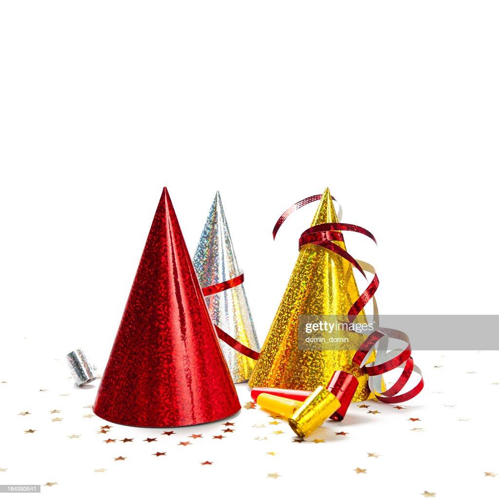 Multicoloured Party Hats isolated on white background, studio shot : Stock Photo