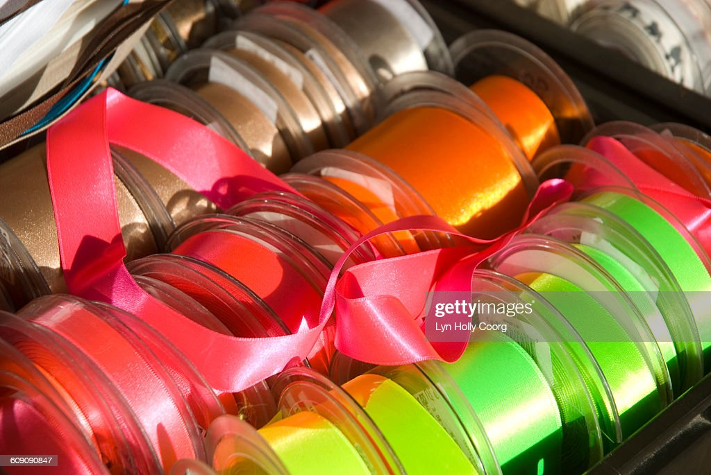 Multicoloured ribbon for sale in marketplace : Stock Photo