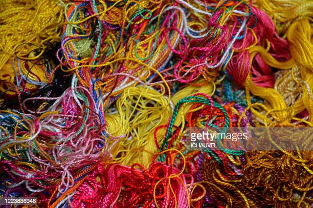 multicoloured sewing threads - wool stock pictures, royalty-free photos & images