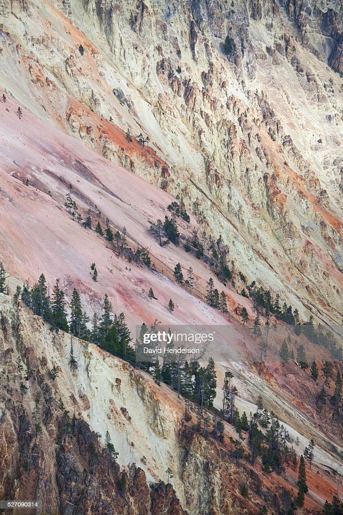 Multicoloured side-wall of very large canyon of Yellowstone River, Wyoming, USA : Stock Photo