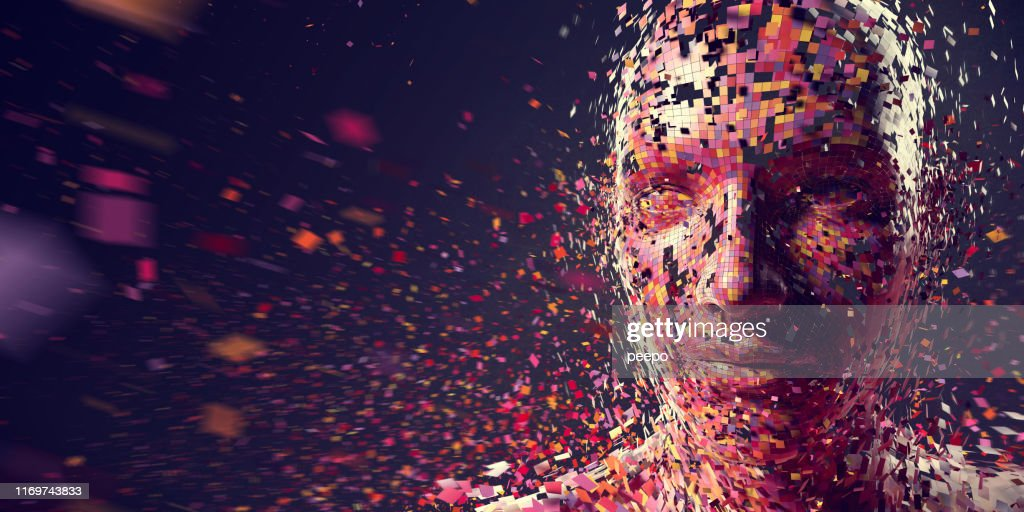 Multi-Coloured Squares in Mid Air Gathering To Form Person : Stock Photo