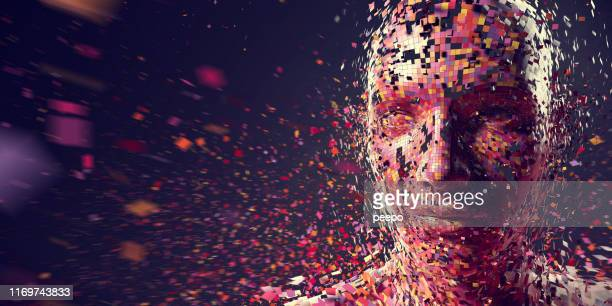 multi-coloured squares in mid air gathering to form person - fake stock pictures, royalty-free photos & images
